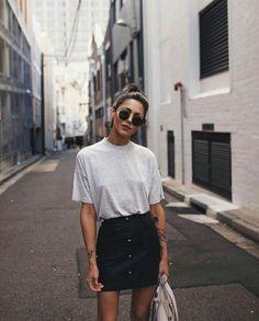 @kamplainnn ❃ spring summer style fashion outfit jean skirt black tshirt