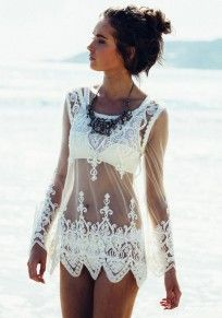 White Patchwork Embroidery Wavy Edge Grenadine Loose T-Shirt