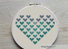 geometric modern cross stitch pattern heart, small, PDF pattern ** instant download**