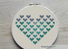 geometric modern cross stitch pattern heart, small, PDF pattern ** instant download**