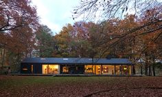 Black exterior. Roof pitch. Variety of window sizes and shapes. Long and narrow.