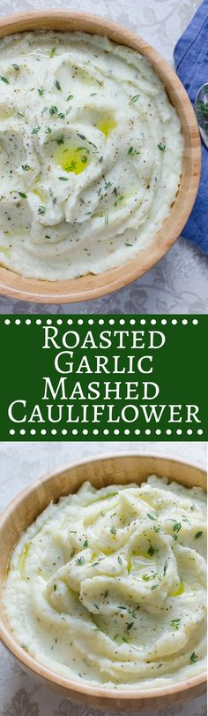 Silky smooth mashed cauliflower with sweet roasted garlic and fresh thyme. A satisfying, low-carb, vegan side! via Lisa Lotts Vegan Mashed Cauliflower, Cauliflower Recipes, Clean Eating, Healthy Eating, Healthy Food, Vegetarian Recipes, Cooking Recipes, Whole30 Recipes, Vegetable Recipes