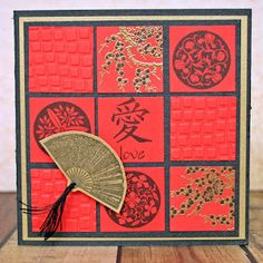handmade card ... Asian theme ... quilt block formate ..3X3 grid of inchies ... embossed texture and stamping ... red with gold and black ... like it!