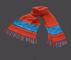 Cotton Orange and Blue hand knitted Scarf di linarekl su Etsy, $159.00
