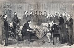 Abraham Lincoln on his deathbed, 10th Street, Washington, DC, April 14-15, 1865. People in room: 26 (Tad was never actually there).