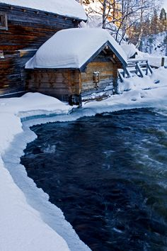 Myllykoski rapids in Kitkajoki river - Kuusamo, Finland Snow Scenes, Winter Scenes, The Places Youll Go, Places To See, Beautiful Places, Beautiful Pictures, All Nature, Helsinki, Wonders Of The World