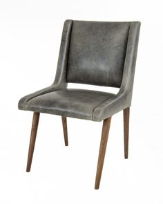 Mid Century Dining Chair in Distressed Grey Leather #ModShop