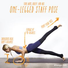Alo Yoga Challenge of the Week: One-Legged Staff Pose - Great for arms, abs, legs and booty!
