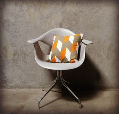 Orange Midcentury Modern Pillow Cover 16 X 16 by GeometricElectric, $60.00  I like this pattern