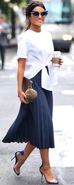 tie front top. pleated midi skirt. street style.