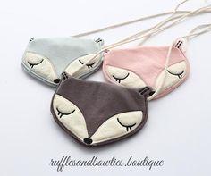 Girls Toddler Pink, Grey, Blue Fox Cross Over Purse - Coin Purse - toddler purse - Girl Toddler Cross Body Bag - Boho Baby - Kids Fall Accessories