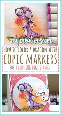 How to Color a Dragon using Copic Markers is part of DIY Book Art Markers - How to Color a Dragon using Copic Markers Check out my step by step tutorial on coloring a purple dragon using your Copics and Ink Stamps Copic Marker Art, Copic Pens, Copic Art, Sketch Markers, Copics, Color Of The Day, To Color, Copic Markers Tutorial, Copic Drawings