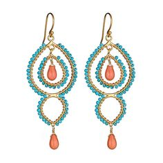 Flying Lizard Turquoise and Coral Long Earrings. Flying Lizard ($110) found on Polyvore