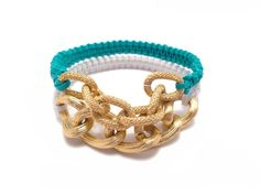 Plastic Lace Bracelet - Turquoise and gold chain