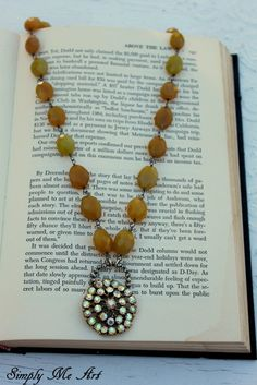 Vintage AB RhinestoneGemstone and Pyrite One of a by simplymeart, $73.00