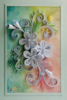 neli: Quilling card with background-3
