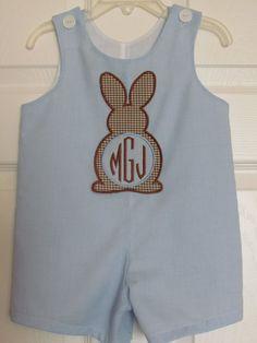 Baby Boy Easter Bunny Applique Shortall by KsCreationsChildrens