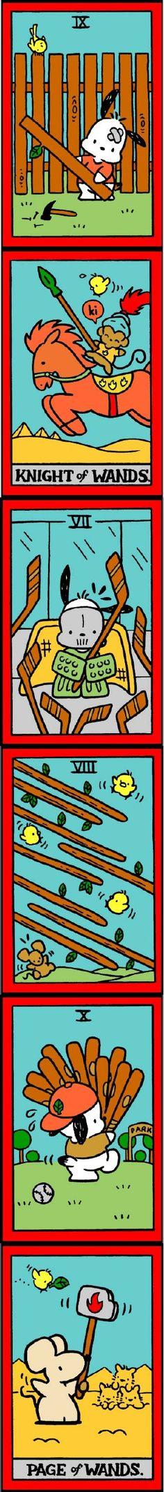 Hello Kitty Tarot 6x13 Nine Of Wands, Tarot Decks, Tarot Cards, Bffs,