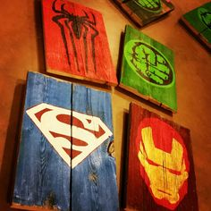 Lot of any 4 Superhero hand painted signs on reclaimed wood. Custom Woodworking, Woodworking Projects Plans, Comic Book Crafts, Arte Banksy, Spiderman Pictures, Art Diy, Wood Home Decor, Kids Wood, Detailed Drawings