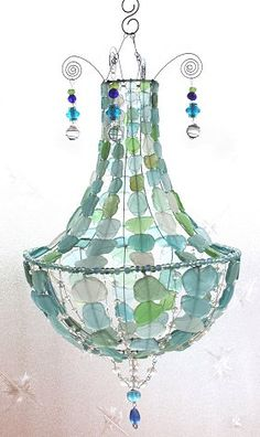 sea glass chandelier | ガラスビーズ/とんぼ玉/ビー玉