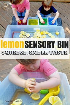 Bright and Sour Sensory Bin — Days With Grey This sensory activity for kids is perfect for fine motor development, hand-eye coordination, exploration for the senses, and cause and effect. Your toddler and preschooler will love this sensory bin! 5 Senses Preschool, 5 Senses Activities, Sensory Activities Toddlers, Infant Activities, Preschool Activities, Toddler Sensory Bins, Sensory Play For Babies, Baby Room Activities, Preschool Food