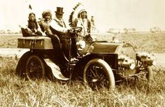 """Photograph of Geronimo (top hat) """"driving"""" a car was taken on June 11, 1905, at the Miller brothers' 101 Ranch, located southwest of Ponca City, Oklahoma"""