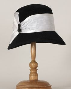 2004GAV Gemma, black with ivory $255– Louise Green Millinery