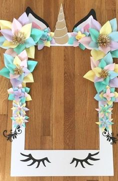 Unicorn Party Selfie Frame - Limited Edition - Unicorn Paper Flowers - Unicorn Party Decorations - U Unicorn Birthday Parties, Birthday Party Themes, Girl Birthday, Birthday Ideas, Birthday Crafts, Baby Shower Unicornio, Pyjamas Party, Unicorn Baby Shower, Unicorn Crafts