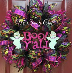 Halloween Wreath - Ghost Wreath - Boo Y'all Wreath - Halloween Deco Mesh Wreath - Ghost Deco Mesh Wreath - Black and Purple Deco Mesh Wreath by MsSassyCrafts on Etsy https://www.etsy.com/listing/245928368/halloween-wreath-ghost-wreath-boo-yall