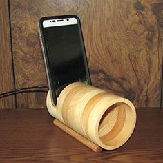 Acoustic iPhone Amplifier Speaker - Fits All Phones - iPhone, Samsung - Handmade Iphone Lightning Cable, Tv Holder, Wooden Speakers, Speaker Amplifier, Subwoofer Box, Iphone Holder, Cell Phone Stand, All Smartphones, Solid Pine