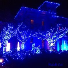Blue Christmas house decorations.  Celebrate with Renaissance Fine Jewelry at www.vermont jewel.com, Facebook or at our 151 Main Street, Brattleboro, Vermont location. We love to make everyone happy!