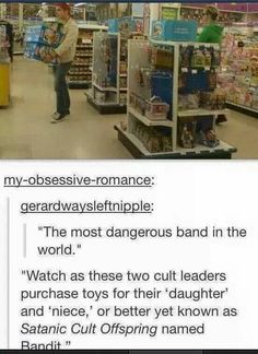 The most dangerous band in the world (My Chemical Romance) buying toys, such satanism