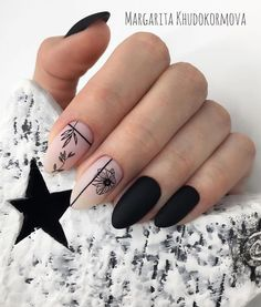 66 Hot Trend Black Almond Nails Design in 2019 For short nails, long nails always look more fascinating than most designs. We have these nail design ideas for artificial and natural long nails. Cute Acrylic Nails, Matte Nails, Stiletto Nails, Almond Nails Designs, Nail Designs, Hair And Nails, My Nails, Black Almond Nails, Short Almond Nails