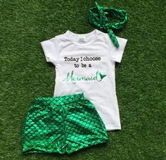 """""""Today, I Choose to be a Mermaid"""" 2pc Bubble Short Set.  Only $14.99 at www.gabskia.com. Accessories are also available for additional purchase."""