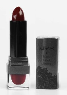 "Now THAT is a dramatic lipstick!  Spring Beauty Trend Alert: 90s Goth Lipstick (And How To Get It, Because You Know You Want It): NYX Cosmetics ""Black Cherry"""