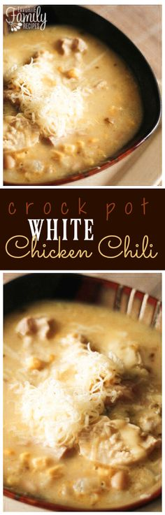 This Crock Pot Chicken Chili Recipe is so easy to throw all together in the slow cooker on a cold day. It can be made as mild or spicy as you like! via Favorite Family Recipes