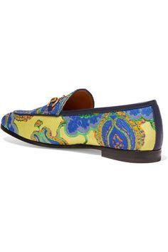 Gucci - Jordaan Horsebit-detailed Jacquard Loafers - Blue - IT41.5