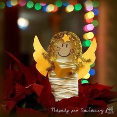Jednoduchá vánoční dekorace - andělíček na pověšení nebo jako zápich do květináče. Tyto andělíčky nás naučila vyrábět teta Helča a zvládnou je děti zhruba od tří let. Malým dětem nachystáme vystřižené tělíčko andělíčka a křídla. Na tělo nalepíme kousek samol Birthday Candles, Christmas, Christmas Decor, School, Xmas, Navidad, Noel, Natal, Kerst