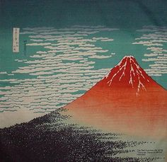 Small Size Cotton Hokusai's 'Aka Fuji' Red Fuji by KyotoCollection