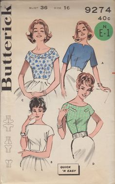 60s Womens Blouse Vintage Sewing Patterns   Womens Shirt Patterns   Italian Look Top Patterns   Semi-Fitted Top   Butterick 9274   Size 16