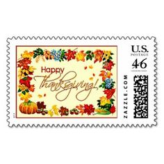 HAPPY THANKSGIVING by SHARON SHARPE Postage Stamp
