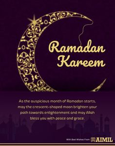 As the auspicious month of Ramadan starts, may the crescent-shaped moon brighten your path towards enlightenment and may Allah bless you with peace and grace.  #RamadanWishes #AimilPharma