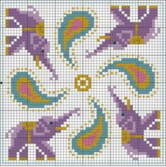 Cross-stitch Elephants & Paisley biscornu pattern, part 1... no color chart, just use pattern chart colors as your guide.. or choose your own colors.