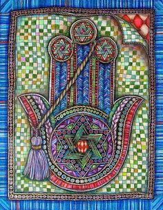 """Hamsa Created by Gerrie Shapiro One of a Kind Inspired by the rich traditions and imagery of her Jewish faith, Gerrie Shapiro uses ink and colored pencil to create pieces that are intricately detailed and realistically rendered in the trompe l'oeil style Cultura Judaica, Arte Judaica, Hamsa Art, Hamsa Drawing, Hamsa Design, Hand Of Fatima, Jewish Art, Star Of David, Zentangle"