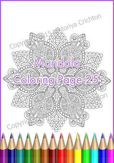 Adult coloring page MANDALA zendala PDF by ZentangleHouse on Etsy