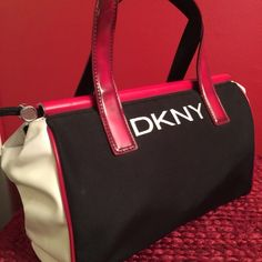 Vintage DKNY Pocketbook DKNY Drawstring bag😊 Red, Black and White with silver hardware on the drawstring. No discoloration or spots👍🏽 11WX6.5X6 DKNY Bags Satchels