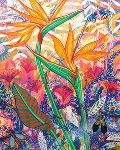 folk art, magpie, magpie design, colourful, bright, art and design, flowers, flora, contemporary folk art, decor, cheerful, contemporary, hand-painted, craft design Birds Of Paradise Flower, Always Cold, Bright Art, Magpie, Design Crafts, Habitats, Moth, Folk Art, Art Decor
