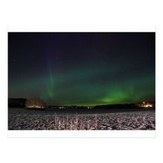 Christmas sky northern lights postcard - merry christmas postcards postal family xmas card holidays diy personalize