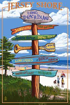 Long Beach Island, New Jersey Destination Sign - Lantern Press Poster (own 4x6)