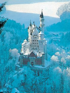 Neuschwanstein Castle, Bavaria, Germany (a.a the castle that inspired the 'Sleeping Beauty' novel). White Witch's castle anyone? Put this on the European castle tour! What an amazing shot! Places Around The World, The Places Youll Go, Places To See, Around The Worlds, Beautiful Castles, Beautiful Places, Amazing Places, Simply Beautiful, Dream Vacations